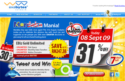 Exabytes Merdeka Promo - Exabytes EBiz Gold Unlimited hosting plan